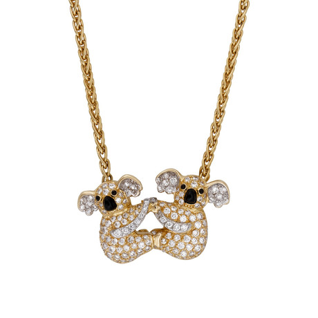 Vintage Graff 18k Yellow Gold + 18k White Gold Koala Diamond Pendant Necklace // Chain: 15""