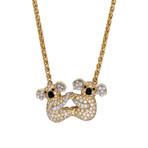 "Vintage Graff 18k Yellow Gold + 18k White Gold Koala Diamond Pendant Necklace // Chain: 15"""