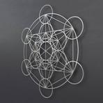 """Encircled Metatron's Cube 3D Metal Wall Art (21.5""""L x 24""""W x 1.5""""H)"""