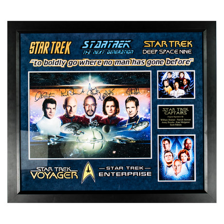 Signed + Framed Collage // Captains // Star Trek