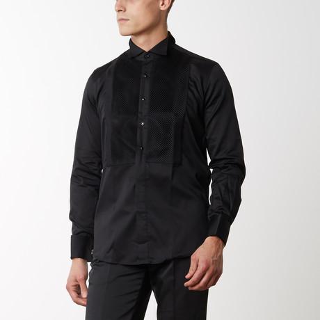 Diagonal Pleated Tuxedo Shirt // Black (S)
