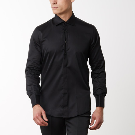 Removable Buttoned Tuxedo Shirt // Black (S)