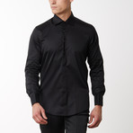 Removable Buttoned Tuxedo Shirt // Black (L)