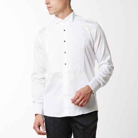 Diagonal Pleated Tuxedo Shirt // White (S)