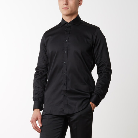 Spread Collar Fitted Dress Shirt // Black (S)
