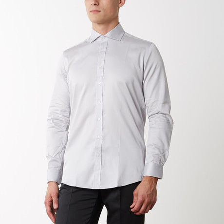 Spread Collar Fitted Dress Shirt // Grey (S)