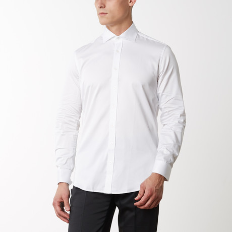 Spread Collar Fitted Dress Shirt // White (S)