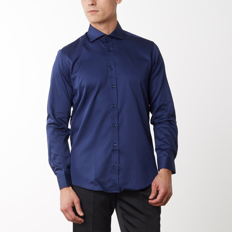 Spread Collar Fitted Dress Shirt // Navy (S)