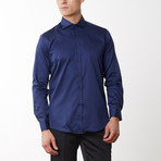 Spread Collar Fitted Dress Shirt // Navy (M)