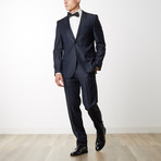 Weave Notch Lapel Slim Fit Wool Suit // Navy (US: 36R)