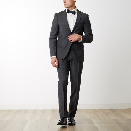 Checked Slim Fit Merino Wool Suit // Black (US: 36R)