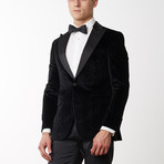Cotton Marble Pattern Velvet Tuxedo // Black (US: 40R)