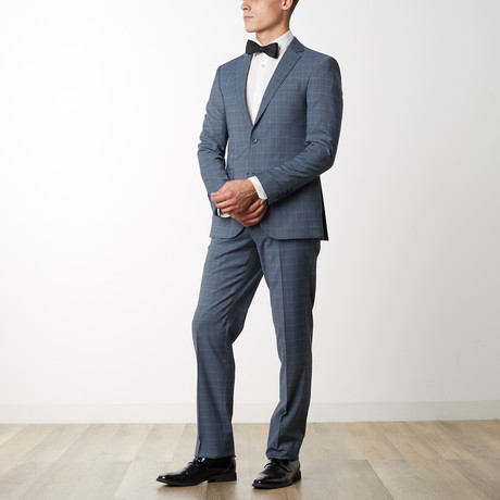 Checked Slim Fit Merino Wool Suit // Blue (US: 36R)