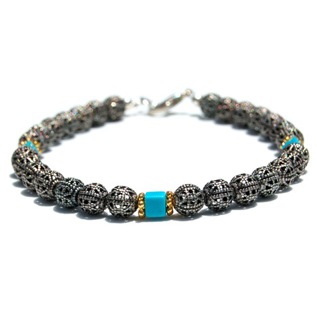 Adjustable Turquoise Metal Bracelet