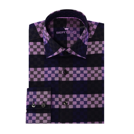 Circle Stripe Design Long-Sleeve Button-Up // Purple (XS)