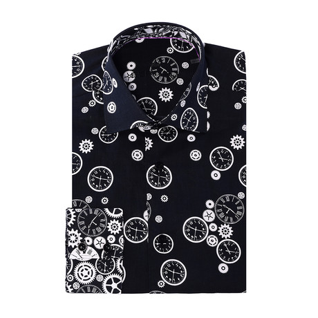 Clock Design Long-Sleeve Button-Up // Black (XS)