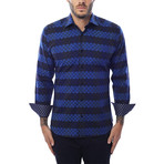 Circle Stripe Design Long-Sleeve Button-Up // Navy Blue (M)