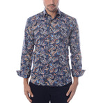 Indian Paisley Design Print Long-Sleeve Button-Up // Navy Blue (L)
