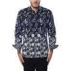 Clock Design Long-Sleeve Button-Up // Black (L)