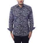 Leaves Design Long-Sleeve Button-Up // Navy Blue (L)