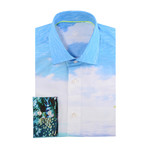 Tropical Sky Print Long-Sleeve Button-Up // Turquoise (2XL)