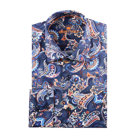 Indian Paisley Design Print Long-Sleeve Button-Up // Navy Blue (XS)