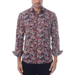 Indian Paisley Design Print Long-Sleeve Button-Up // Red (XL)