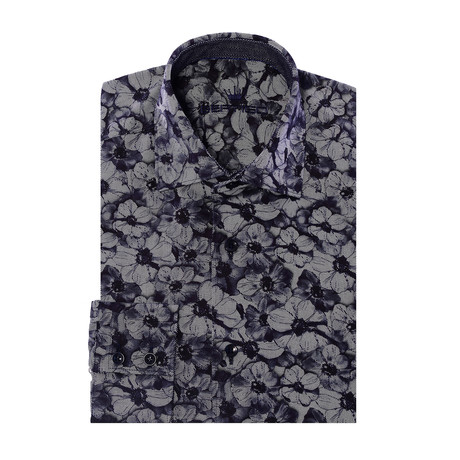 Leaves Design Long-Sleeve Button-Up // Navy Blue (XS)