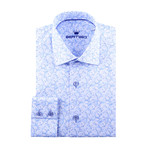 Fine Vine Print Long-Sleeve Button-Up // Blue (XS)