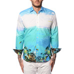 Tropical Sky Print Long-Sleeve Button-Up // Turquoise (S)