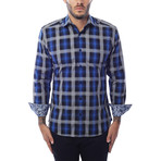 Gradient Plaid Long-Sleeve Button-Up // Navy Blue (S)