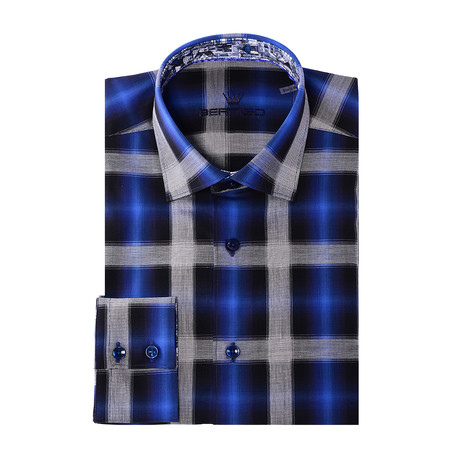 Gradient Plaid Long-Sleeve Button-Up // Navy Blue (XS)