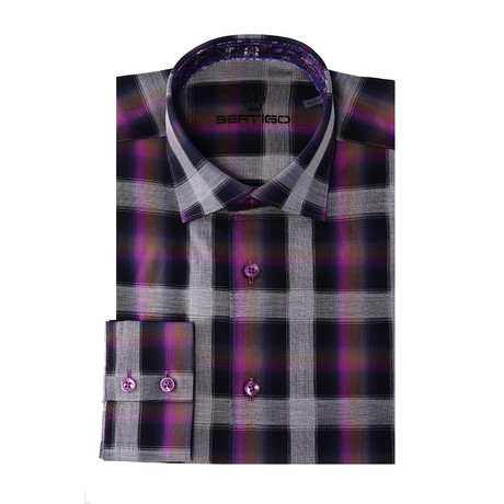 Gradient Plaid Long-Sleeve Button-Up // Purple (XS)