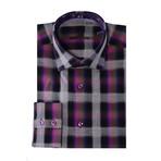 Gradient Plaid Long-Sleeve Button-Up // Purple (2XL)