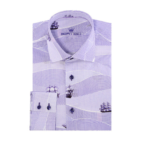 Sail Boat Print Long-Sleeve Button-Up // Purple (XS)