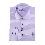Sail Boat Print Long-Sleeve Button-Up // Purple (3XL)