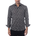 Circle Burst Print Long-Sleeve Button-Up // Black (XL)
