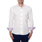 Solid Jacquard Long-Sleeve Button-Up // White (S)