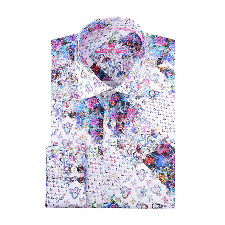 Graphic Design Print Long-Sleeve Button-Up // White (XS)