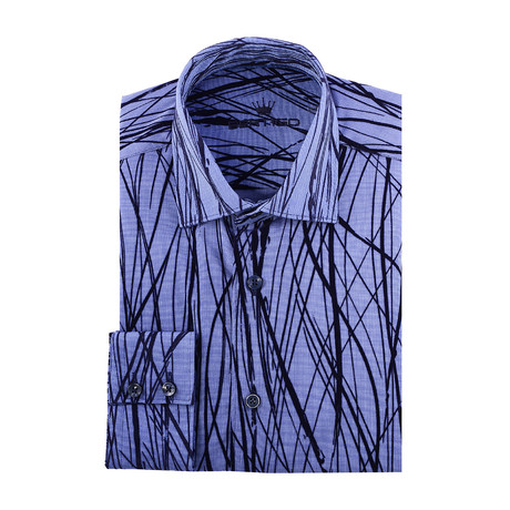 Abstract Flock Long-Sleeve Button-Up // Navy Blue (XS)