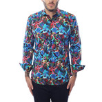 Koke Abstract Print Long-Sleeve Button-Up // Multi Color (XL)