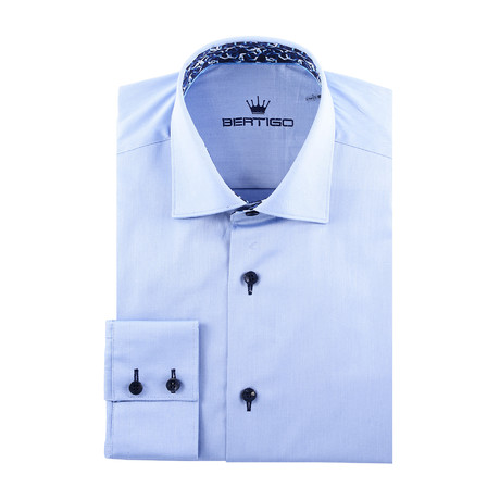 Maddox Solid Long-Sleeve Button-Up // Blue (XS)