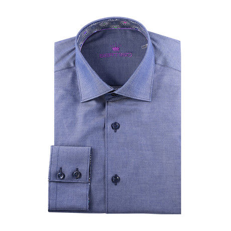 Maddox Solid Long-Sleeve Button-Up // Medium Blue (XS)
