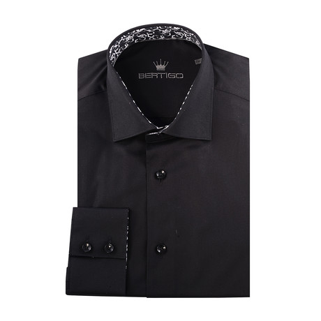 Maddox Solid Long-Sleeve Button-Up // Black (XS)