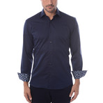 Maddox Solid Long-Sleeve Button-Up // Navy Blue (3XL)