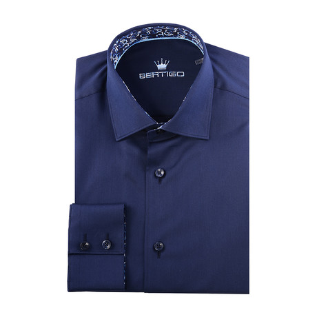 Maddox Solid Long-Sleeve Button-Up // Navy Blue (XS)