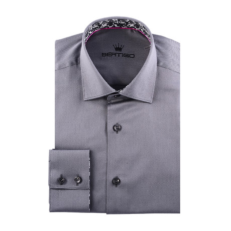 Maddox Solid Long-Sleeve Button-Up // Grey (XS)