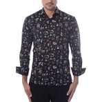 Camera Graphic Print Long-Sleeve Button-Up // Black (M)