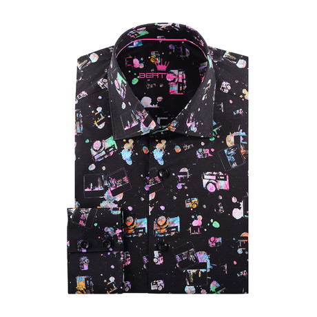 Camera Graphic Print Long-Sleeve Button-Up // Black (XS)