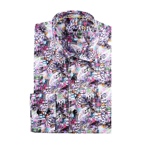 Paisley Abstract Long-Sleeve Button-Up // Pink (XS)